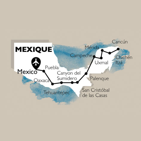 Carte Circuit Mexique, saveurs et civilisations Mexicaines - 30 personnes maximum