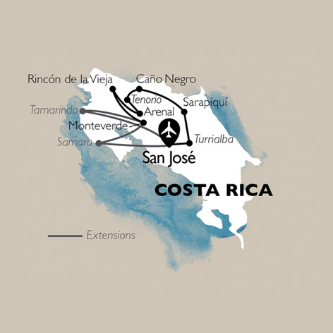 Carte Circuit Costa Rica - Découverte Pura Vida + Extension plage Tamarindo - 20 personnes maximum